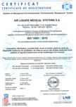 Certificate ISO 14001 - 2015 cover
